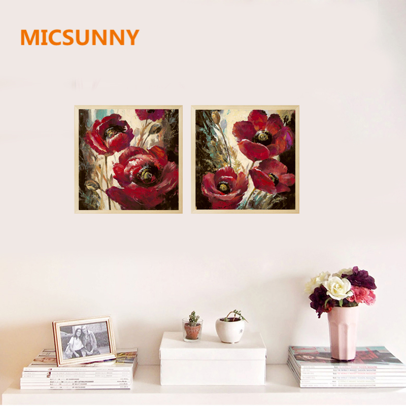 MICSUNNY Grace Flowers Prints Painting Abstract Elegant Home Decor Canvas Oil Paintings Decorative For Living Room