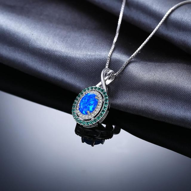 Oval Created Opal Emerald Pendant