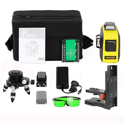 F93T-XR/F93T-XG 12 линий 3D литиевая батарея красный/зеленый лазерный уровень+ приемник+ Магнитный кронштейн+ 3M штатив - Color: Green 6
