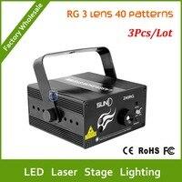 Envío Libre de DHL 3 unids 3 Lente 40 Patrones LED Proyector Láser Remoto del Efecto de etapa Iluminación 3 W Azul Para El Partido Del Disco de DJ Del Club láser