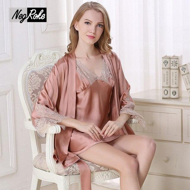Новый 2017 Дизайн 100% шелк сексуальная одежда для женщин благородный спагетти ремень Ночная Рубашка с длинным рукавом халаты качество элегантный Платье наборы женщины