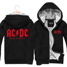 New 2015 Fashion ACDC Rock Band Hip Hop Skateboard Mens Hoodies And Sweatshirts Casual Cardigan Thick Plus Velvet Jacket Winter