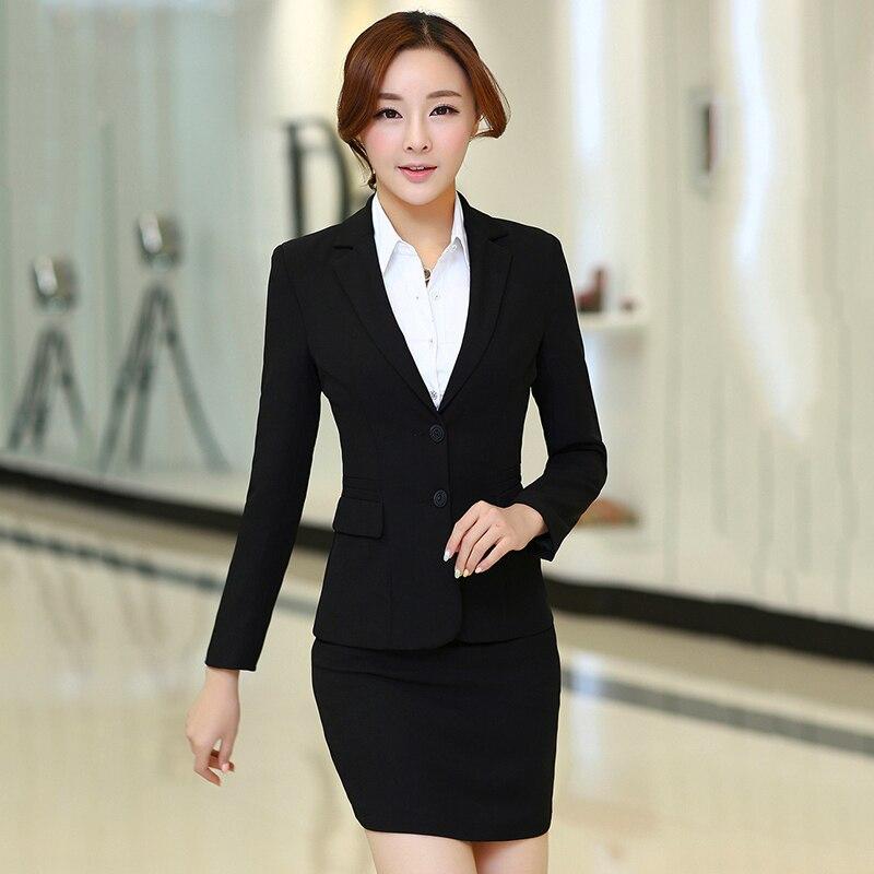 Skirt suit womens office uniform style ladies skirt suits blazer set High quality plus size business elegant female work wear