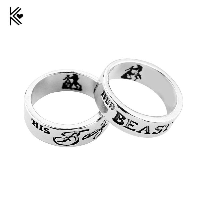 Красота и чудовище кольцо пару Кольца Свадебные украшения для любителей ее зверь его Красота кольцо Обручение обещание ювелирных изделий д...