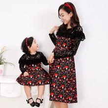 Мать и дочь с длинным рукавом высокой талии платье моды кружева печати родитель-ребенок обмундирования осени