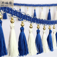 12M Lot Double Color Plating Beads Curtain Lace Accessories Tassel Fringes Trim Ribbon DIY For Sofa