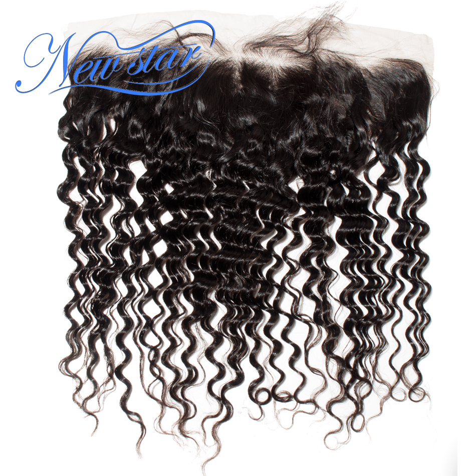 New Star Brazilian Deep Wave Pre Plucked Lace 13x4 Frontal Closures Free Part Virgin Human Hair With Baby Hair Bleach Knots