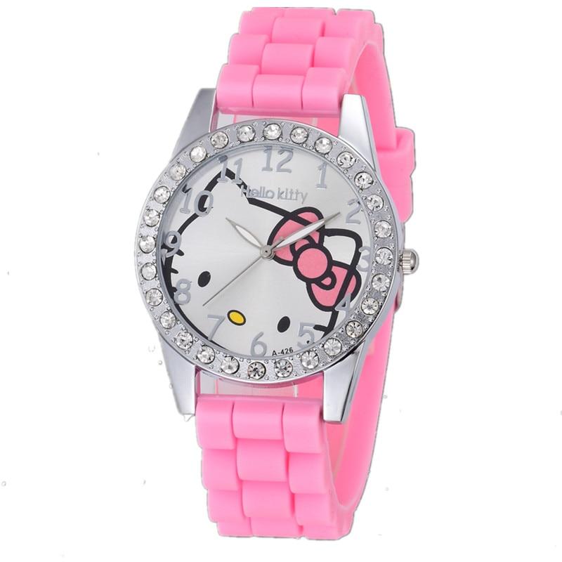 Silicone Lovely Hello Kitty Cartoon Watches Fashion Quartz Women Dress Watch Rhinestone Cat Girl Clock Reloj Hodinky Ceasuri