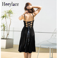 fe889159dc7c9 Velvet Spring Fashion Dress Women Sexy Backless Lace Up Party Dress Pink  Ball Gown Casual Spaghetti