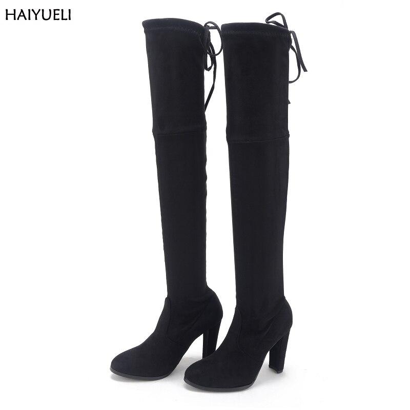 где купить  Size 41 Womens High Heel Boots Sexy Black Knee High Boots Classic Thigh High Boots Autumn Winter Over The Knee Boots 9cm Heel  по лучшей цене
