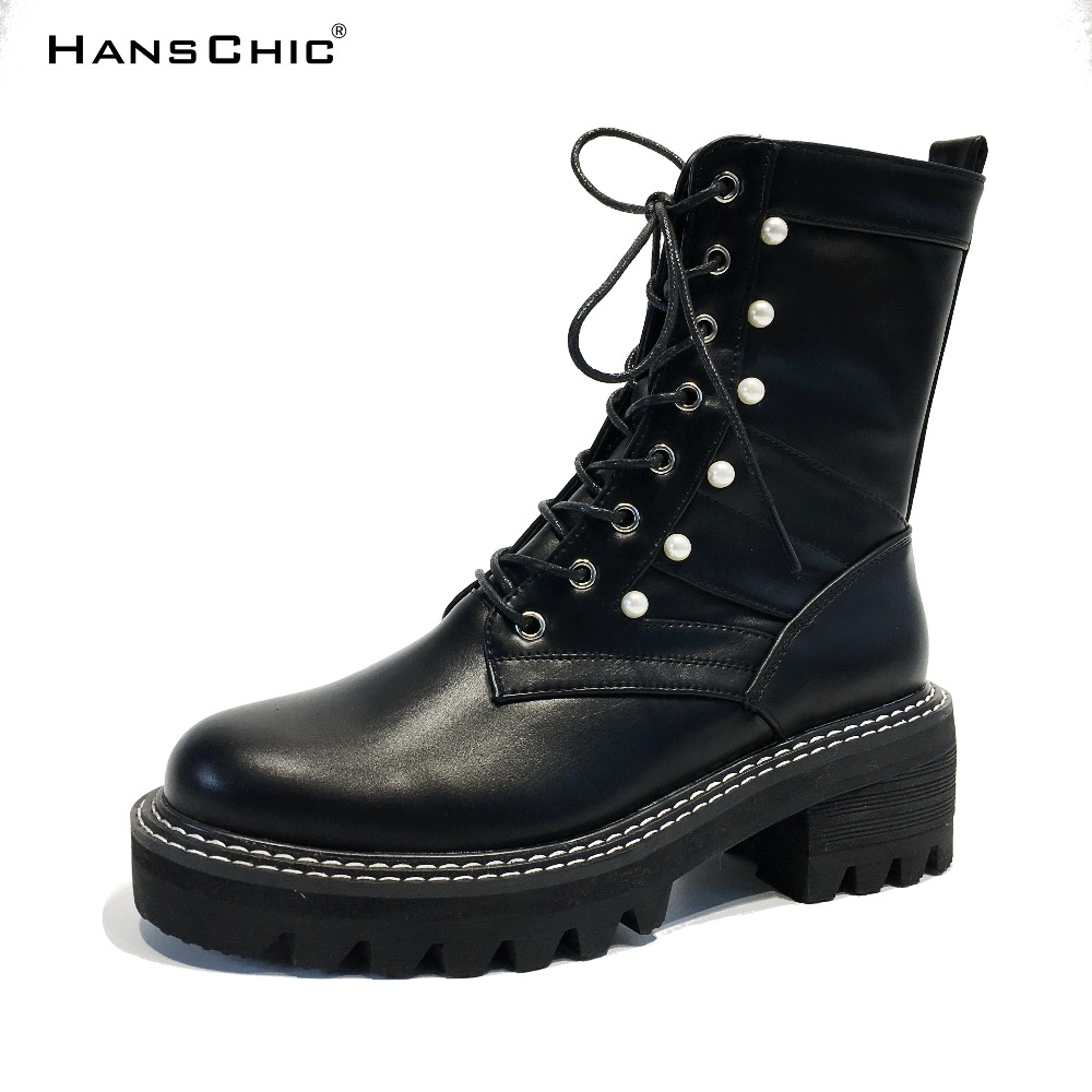 HANSCHIC 2017 New Arrival Winter Special Black PU Leather Design Women Med Heels Casual Boots Shoes with Pearl Beads 2222