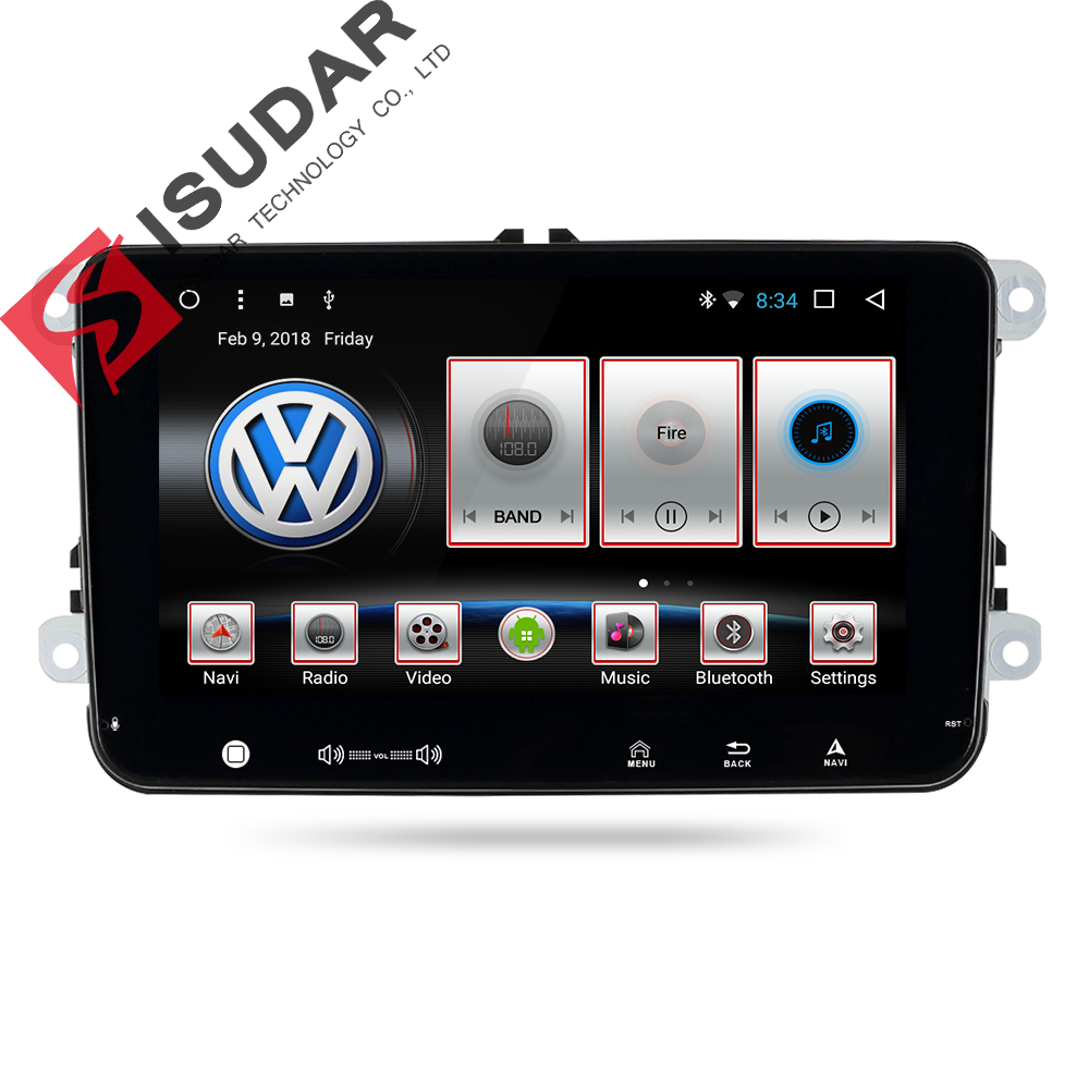 Isudar Car Multimedia Player GPS 2 Din Android 7.1.1 DVD Automotivo Per Volkswagen/VW/POLO/PASSAT/ golf/Skoda/Seat/Leon Radio FM