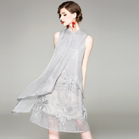 Взлетно посадочной полосы платье Для женщин элегантный дизайн Шелковый Лоскутная сетки свободного кроя без рукавов с вышивкой низ 2 цвета П