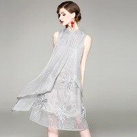 Runway Dress Women Elegant Design Silk Patchwork Mesh Loose Sleeveless Embroidery Hem 2 Colors Party Dresses New Fashion 2018