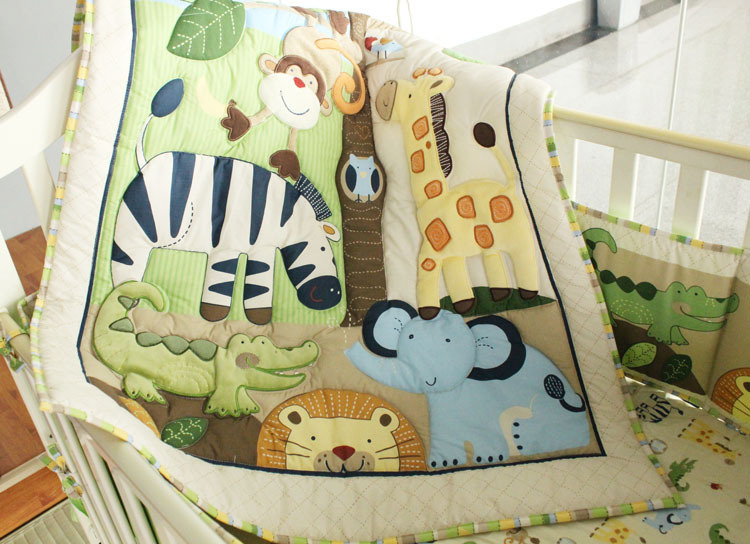 7PCS embroidery baby bedding set quilt pillow bumper bed sheet crib bedding set ,include(4bumper+duvet+bed cover+bed skirt) bedding set sailid b 154 cover set linings duvet cover bed sheet pillowcases tmallts