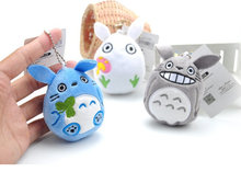 NEW Kawaii Quality 3Colors - 8CM TOTORO Keychain Stuffed TOY DOLL , Pendant Plush TOY , Bouquet Gift Plush TOY DOLL(China)