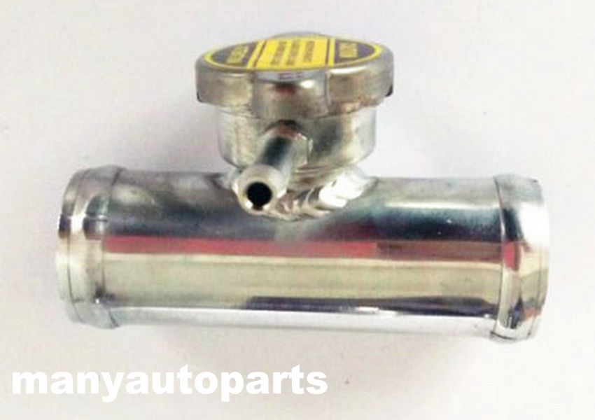 "1-1//2/"" 38mm Aluminum Radiator In-Line Hose Filler Neck With Cap 1.5/"" Hose"