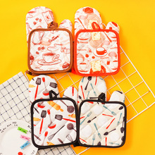 1 Pair Cotton Fashion Bread Flamingo Pattern Kitchen Pad Cooking microwave baking BBQ oven potholders mitts kitchen gloves