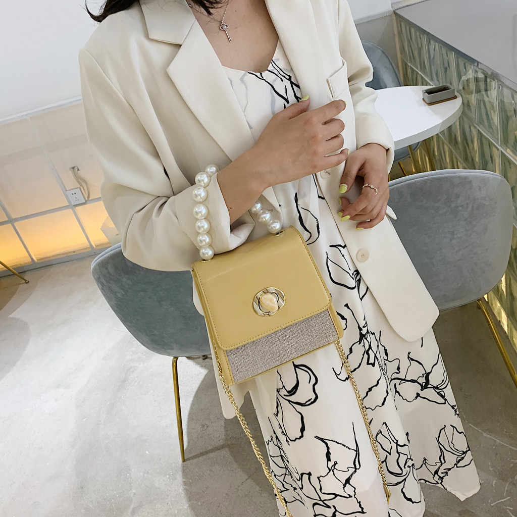 Aelicy Vintage Pearl Weaving Stitched Leather Cute Joker Edition Crossbody Shoulder Small Square Bag Trend Mini Ms. Tote