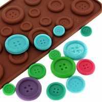 Silicona herramientas para chocolate, 3D botón lindo forma decoración de pasteles herramientas, moldes de silicona para herramientas para hornear fondant