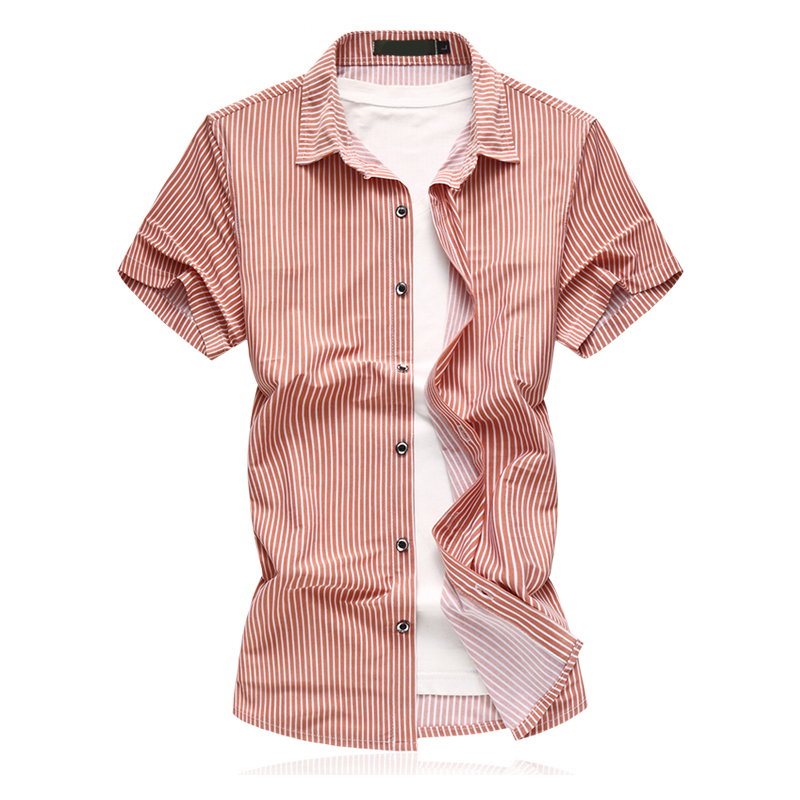 Mens Short Sleeve High Quality Vertical Striped Gold Men Dress Shirts Male Casual Slim Fit 2018 New Summer Tops Shirt M-7XL
