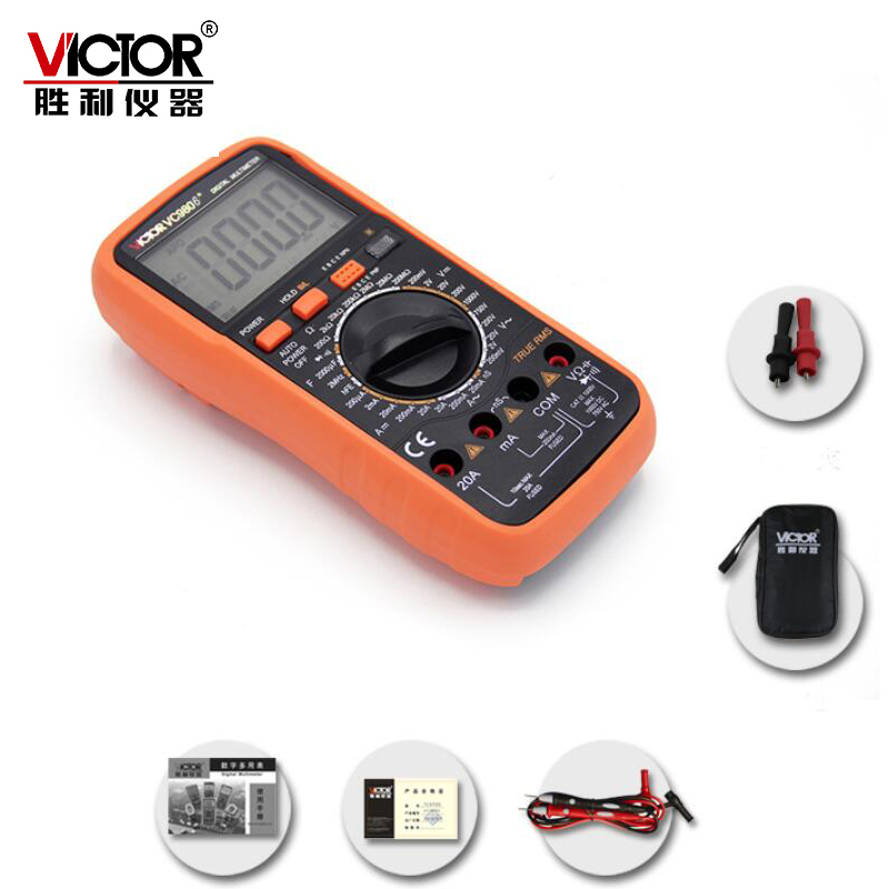VICTOR VC9806+ 4 1/2 Digital Multimeter DMM Ammeter Voltmeter Ohmmeter w/ Capacitance 2000uF Frequency & hFE Test victor lcd 4 1 2 digital multimeter vc9806