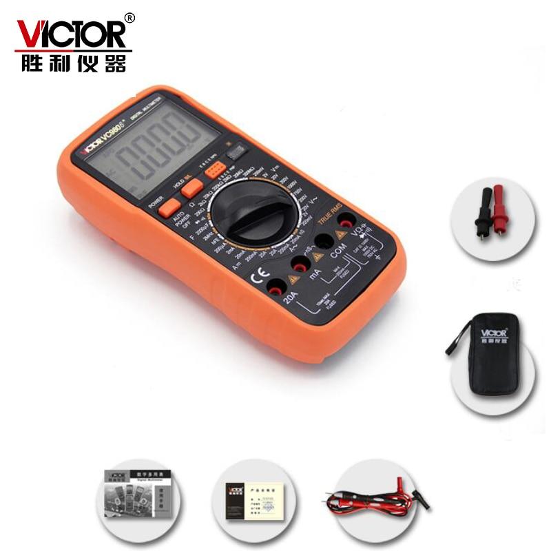 VICTOR VC9806 + 4 1/2 Multimètre Numérique DMM Ampèremètre Voltmètre Ohmmètre w/Capacité 2000 uF Fréquence & hFE Test