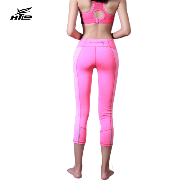 HTLD Skinny Elastic Leggings Fitness Reflective Capris Pants Sweatpants Women Zipper Trousers Ladies Workout Joggings Leggins