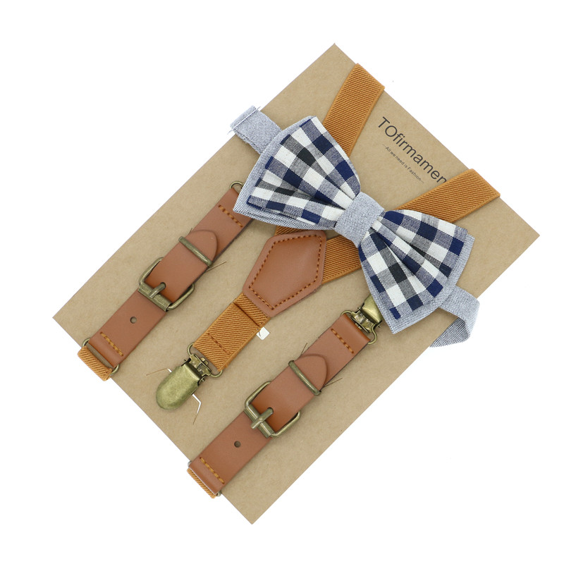 8465de977 Kids Leather Suspenders cutie cartoon bow tie set ring bearer outfit ...