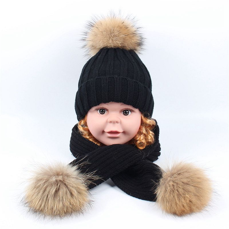 Winter Children Warm Thick Hat Scarf Glove 2pcs Set Knitted Real Fur PomPom Hat Sets Baby Kids Beanies Neck Warmers For Boy Girl