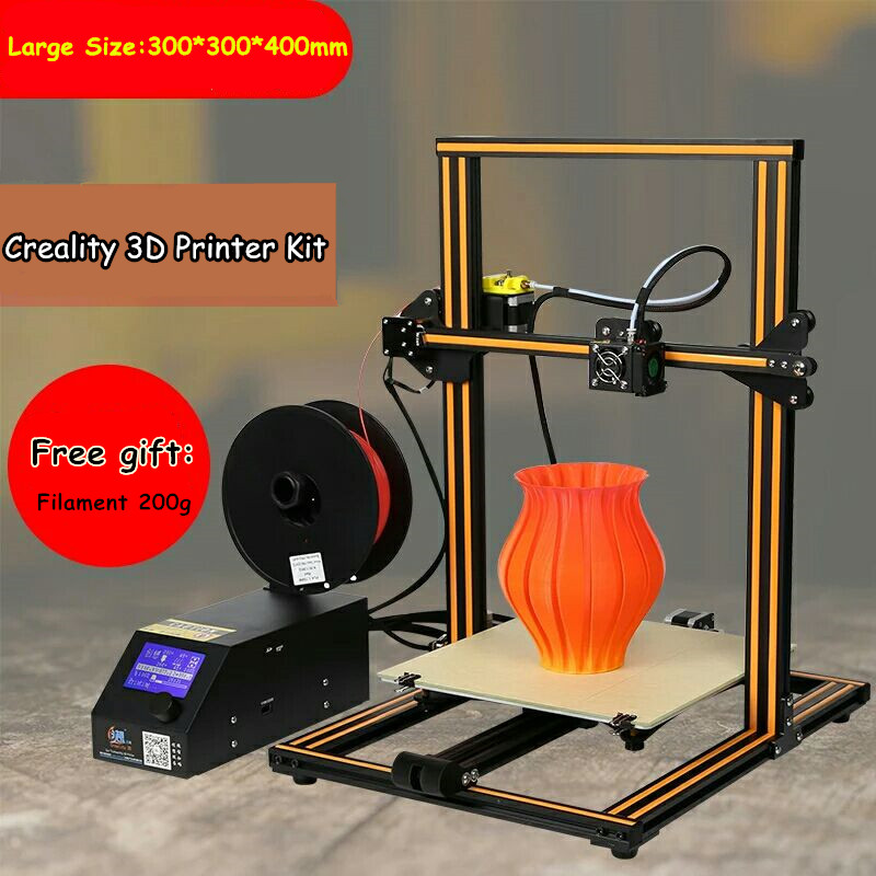 2017 Large Size 300 300 400mm Creality CR 10 3D Printer With Heated Bed 0 1mm