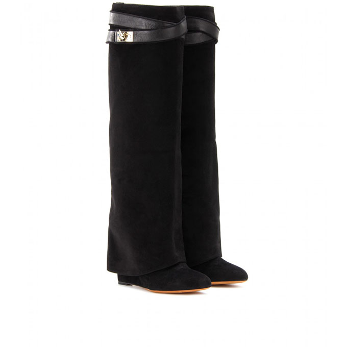 Зимние женские Сапоги выше колена на высокой танкетке, дизайнерские ботинки, черные, абрикосовые замшевые и кожаные ботинки, серый цвет
