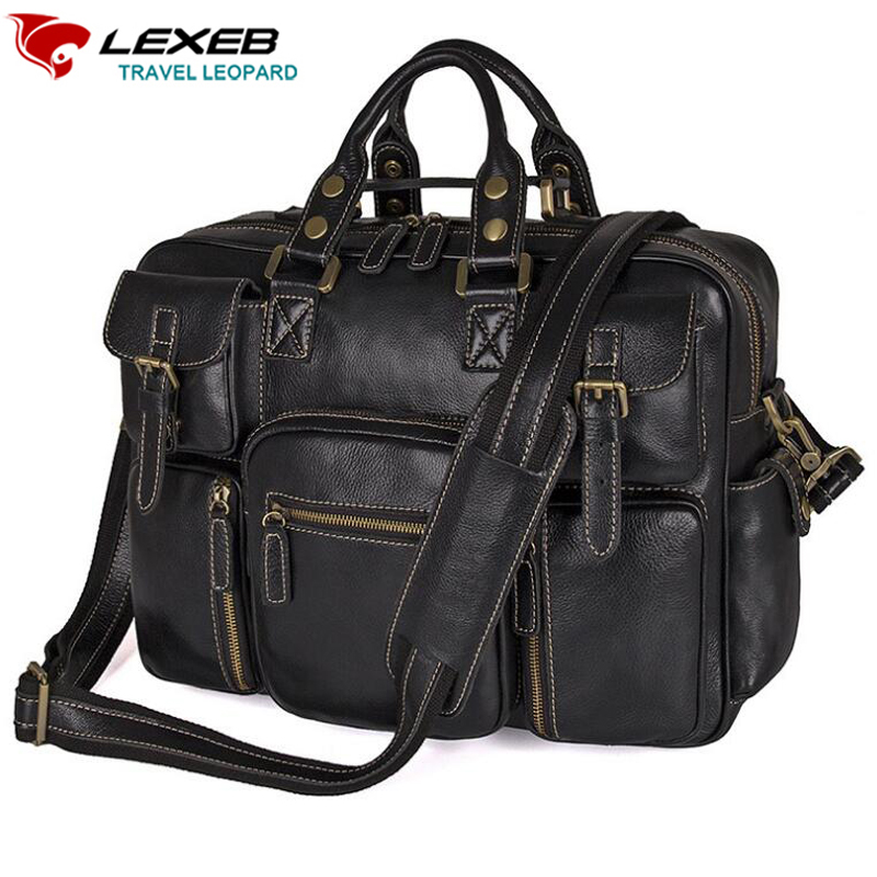 LEXEB Full Grain Cow Leather Laptop Travel Duffle Bag For Men Multi-pockets Overnight Weekender Travel Totes Bags Black