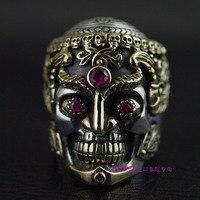 Таиланд импорта меди и серебра, смешанный дизайн, властный мужской Тантрический череп кольцо стерлингового серебра 925