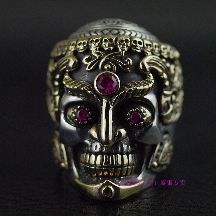 Thailand imports of copper and silver, mix design, domineering male Tantric skull 925 Sterling Silver Ring