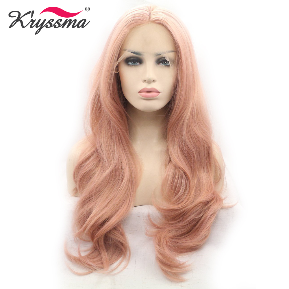 Mixed Pink Synthetic lace Front Wig Long Natural Wavy Pink Wigs for Women Natural Hairline Pink
