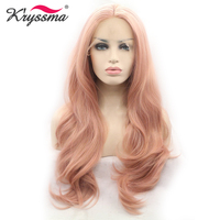 Mixed Pink Synthetic lace Front Wig Long Natural Wavy Pink Wigs for Women Natural Hairline Pink Wig Glueless Heat Resistant