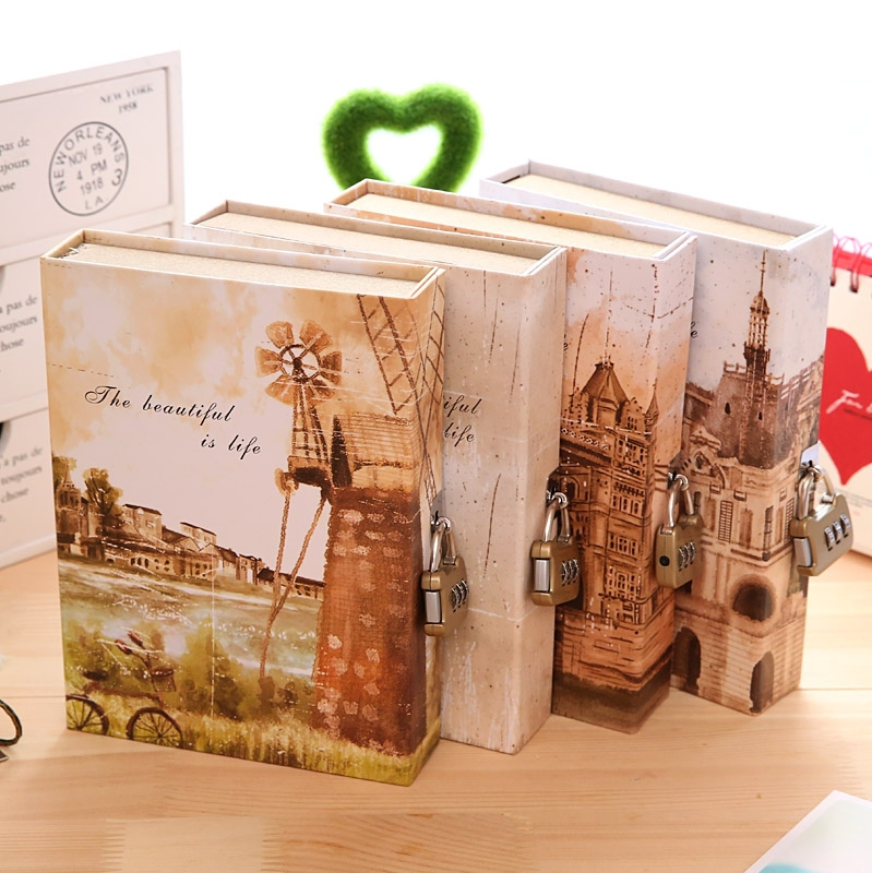 KIMCOOL Notebook [ The Famous Buildings Lockable Diary Notebook ] Classical European Vintage Diary Composition Book Notepad