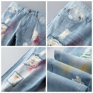 Image 3 - Fashion blue Embroidery Flower designer Zipper Wash Jeans Men High Quality Slim Denim distressed Pants Brand Straight Pants