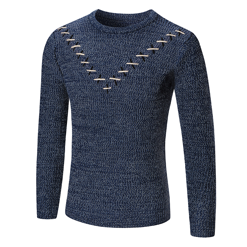 2017 Metrosexual mens winter fashion casual Sweater men cross decorate new antumn tops pullovers O-neck sweater clothes S-XXL