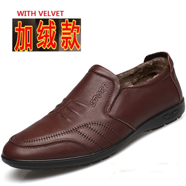 9612 New Fashion Low-help Men's Shoes Winter Middle-aged Leather Casual Shoe Men Soft Bottom Lightweight Daddy Shoes