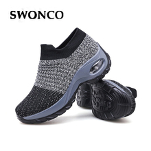 SWONCO Sock Shoes Women Platform Sneakers White/black 2019 Autumn New Female Casual Shoes Wedge Swing Shoes Loose Weight Sneaker