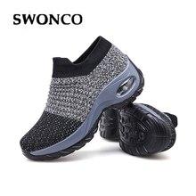 SWONCO chaussette chaussures femmes plate forme baskets blanc/noir 2019 automne nouveau femme chaussures décontractées Wedge Swing chaussures lâche poids Sneaker