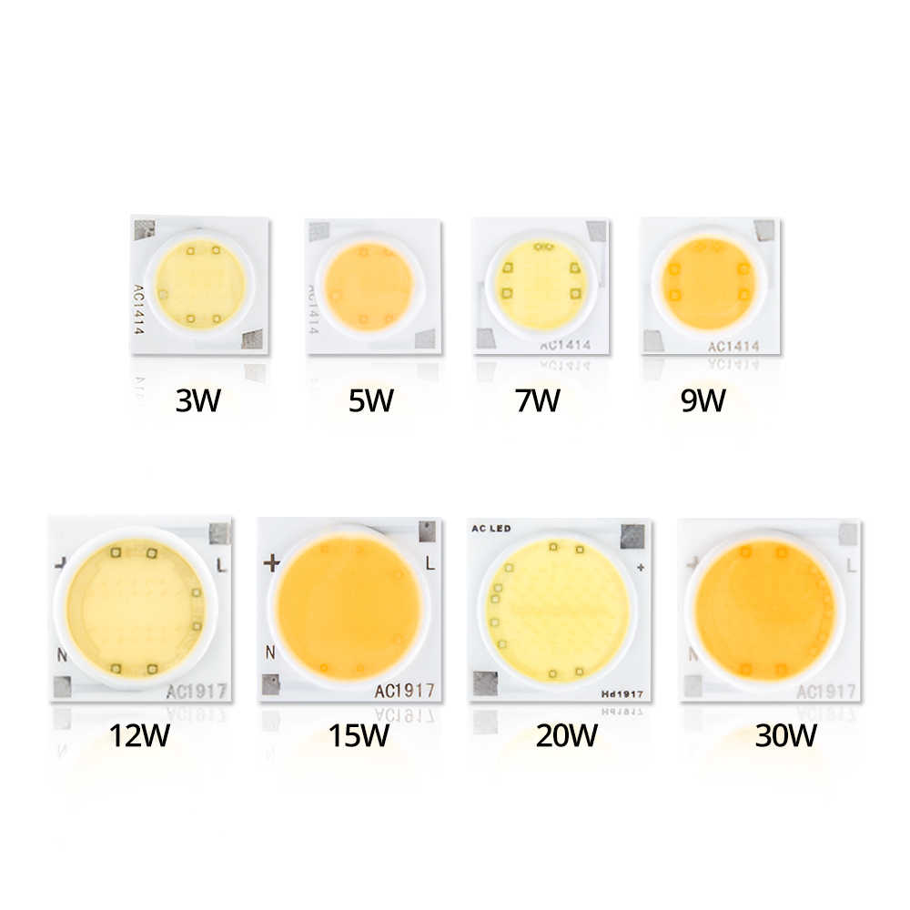 COB LED Chip Lamp 3W 5W 7W 9W 20W 30W 220V Ceramics LED Light Matrix Diode Array High Power Smart IC No Need Driver