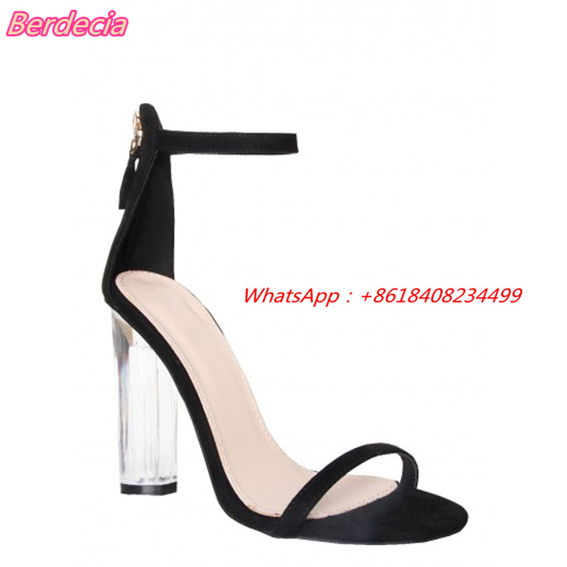 ФОТО Crystal High Heel Women Sandals Ankle Strap Rome Open Toe Shoes Women Square Heels Solid Sandals Women Gladiator Party Shoes
