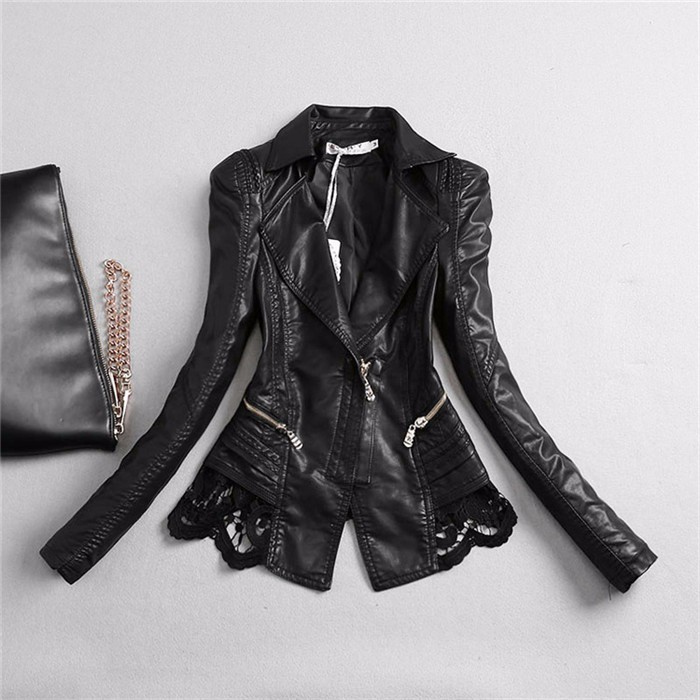New Lady Autumn Fashion Jacket Lace Patchwork Slim Women Jacket Pu Leather V-neck Short Outwear Coat JK507 2