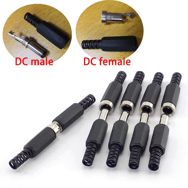 10Pcs DC Male Connectors DC Female Adapter DC Power Jack Plug Cctv Camera Security System For DIY Cctv Accessories 2.1*5.5MM