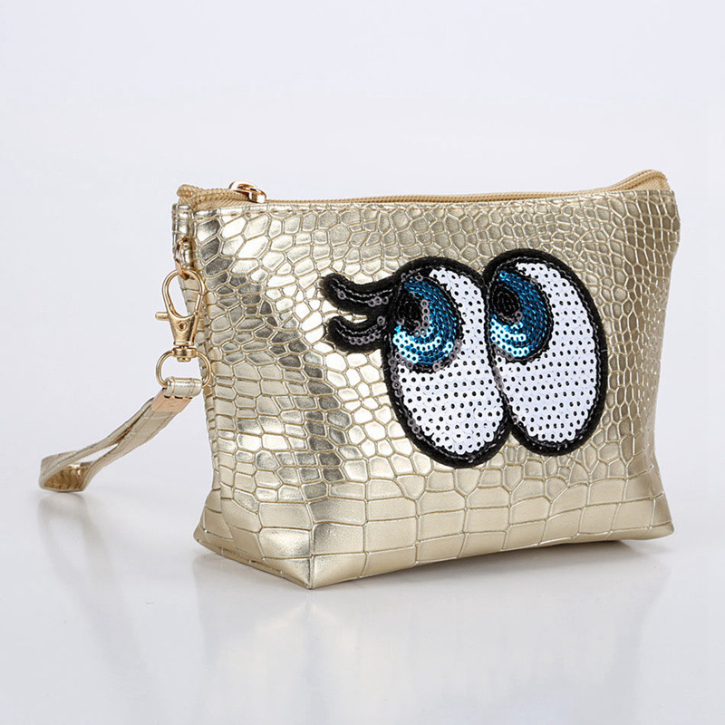 1 Pc Women Eyelash Cosmetic Bag Sequin Eyes Makeup Bag Travel Zipper Cosmetic Case Organizer Kosmetycz Dropshipping