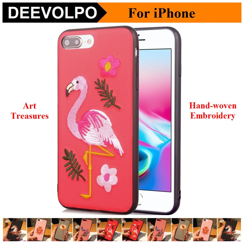 DEEVOLPO Color Painted Embroidery Back Cover Case For iPhone X 8 7 Plus 6Plus 6S Hand-woven Phone Bags For Samsung S8 Plus DP05F
