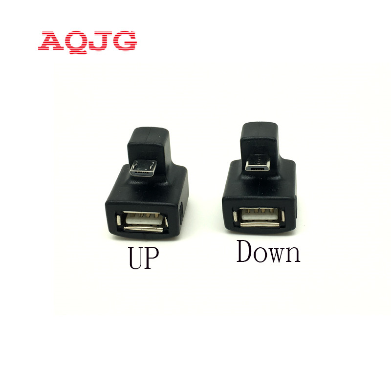 180 Degree Up  Down Right Angled V8 Micro USB OTG to USB 2.0 Female Extension Adapter connector for Cell Phone & Android Tablet micro usb 2 0 5pin male to female m to f extension connector adapter 9mm long plug connector 90 degree right